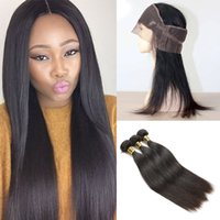 3 Bundles with 360 Lace Frontal Closure Black Brown Brazilia...