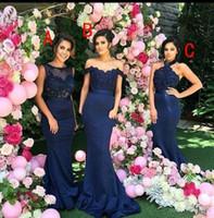 2017 Новый дизайн Sexy Страна Темно-синий Русалка невесты платья плеча Длинные горничной честь платья гостей свадьбы платье партии