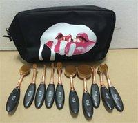 ГОРЯЧЕЕ Kylie Овальная макияж кисти розового золота косметический фонд BB крем порошок румяна 10 штук инструменты для макияжа + сумка DHL Бесплатная доставка