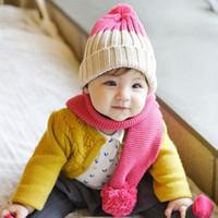 Baby Girls Knitting Hats Two- color Caps Kids Knit Crochet Ha...