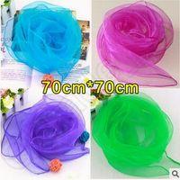 70 * 70см квадратные шарфы Чистый шелк шифон цвета конфеты ветрозащитный Женщины шарфы шифон шарф квадратные шарфы CCA5536 2000pcs