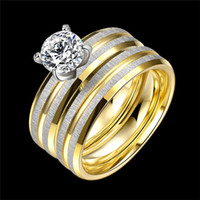Fashion Stainless Steel Wedding Anel Gold Matte Silver Color...