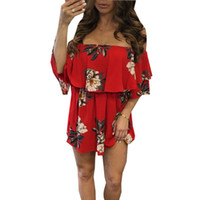 Women's Floral Print Robe rouge Sexy Off The Shoulder Layer Ruffle Mini-robe ZL3297