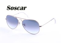 Soscar Pilot Sunglasses Light Grey Gradient Lenses Metal Fra...