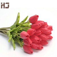 Wholesale- 11pcs lot Artificial Flower Real Touch PU Tulip fo...