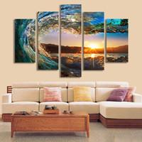 5 Панель стены искусства пейзаж Живопись Морской пейзаж Холст печати Стена Картина для гостиной Room Домашнее украшение Unframed