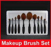 Кисти для макияжа Набор кистей для овальной кисти Многоцелевая ручная зубная щетка Mermaid Foundation Powder Мягкие кисти для лица Make up Tools 10 PCS