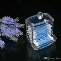 Caja de Almacenamiento Clear Acrylic Q-tip Holder Box Esponjas de algodón Stick Storage Maquillaje cosmético