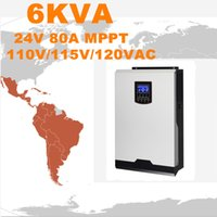 Горячее надувательство солнечного инвертора 6Kva 4800W солнечного с инвертора сетки 24V к 120V 80A MPPT Чисто инвертор синуса инвертора синуса гибридный 60A Заряжатель AC