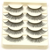 Natural Long Fake Eyelashes 1 Box 5 Pairs Crossed Messy Hand...