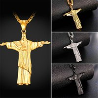U7 Hot Cristo Redentor Rio Brazil Christ The Redeemer Collier Acier inoxydable / Chaîne plaquée or pour hommes / Femmes Perfect Cross Jewelry GP2425