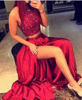 2017 Sexy Two Pieces Prom Dresses High Neck Crystal Beading ...