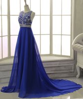 Royal Blue A Line Chiffon Evening Dress 2017 Real Photo Crys...