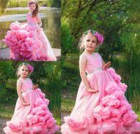 Необычные прекрасный розовый цветок девочки платья без рукавов Jewel Маленькие девочки платья для свадьбы с Облако Shape Lace баски сшитое мантия партии
