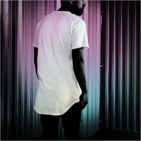 Free shipping fashion men extended t shirt longline hip hop ...