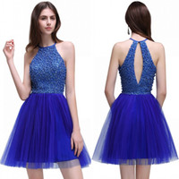 SOMENTE $ 45.9 Imagem real Royal Blue Homecoming Dresses 2017 New Tulle Crystals Beaded Sexy Cocktail Dresses Sweet 16 Graduation Dresses CPS536
