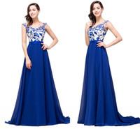 Royal Blue Линия шифоновое дизайнер платья выпускного вечера кружева аппликация рукава Cap молния назад Длинные платья Вечерние платья для особых случаев Дешевые