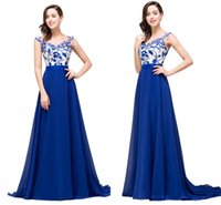 Royal Blue A Line Chiffon Designer Prom Dresses Lace Appliqu...