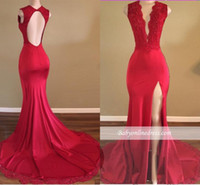 2017 Nova Long Red Sexy Prom Dresses Deep V Pescoço Beads High Side Split Andar Comprimento Evening Vestidos de Festa Formalizada Custom Made