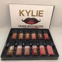 Plus nouveau Kylie 12 couleurs charme hydratant Lipgloss brillant Set rouge à lèvres liquide Kylie charme Lip Gloss Set non Stick Cup Livraison gratuite