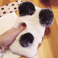 Corée Rex Lapin Panda Hairball cas de téléphone portable pour iPhone 6 6Plus i7 i7Plus Housse en peluche