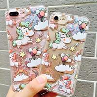 Liquid Unicorn Horse Flower TPU PC Hard Case For iphone 6 6S...