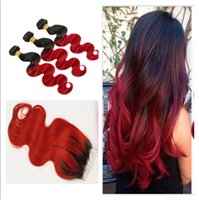 1B Red Virgin Malaysian Ombre Hair Weaves With Closure Dark ...