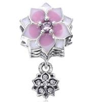 2017 Nouvelle Journée de la Mère Blanc Rose Fleur Cherry Dropper Dangling Charm Fit Pour Pandora Bracelet DIY Bead Charm 925 Sterling Silver Jewelry