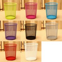 7 Color Classic Round Metal Iron Mesh Wastebasket Trash Can ...