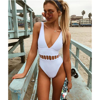 Imayio Summer one piece swimsuit sexy white swimwear hallow ...