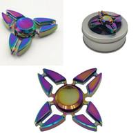 Crab Tri-spinner Mão Spinner Arco-íris Colorido Alumínio Liga Triângulo Fidget Spinner Metal Descompressão Brinquedos Com Caixa De Varejo OOA1503