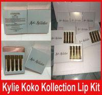 В штоке !! Дженнер Lip Kit Lipgloss Набор КОКО Kollection kollaboration Золото Металл матовая помада (3шт + 1 шт)