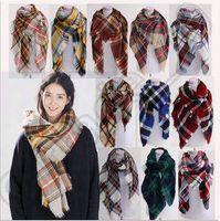 20 цветов 140 * 140см Женщины пледом шарфы Шотландка шарф шаль Крупногабаритные решетчатые Cozy 100шт Обертывания Кашемир пашмины кисточкой CCA5338