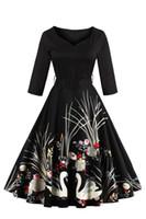 Vestidos Vintage V шеи Весна Осень Свон Печатные 60s Хепберн Повседневные платья рокабилли 4XL Плюс Размер Afternoon Tea Party платье FS1163