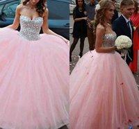 Розовый бальное платье Тюль Quinceanera платья Новый Стразы бисером Милая сладкий 16 Quinceanra партии выпускного вечера платья