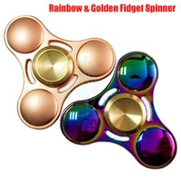 New Fidget Spinner Toys Rainbow Golden Triangle Hand Spinners Top Alloy CNC EDC Finger Tip décompression nouveauté Rollover peluche Toys DHL