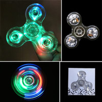 Le plus récent LED Luminous EDC Fidget Spinner Glitter Jelly Clear Tri Spinners pour l'autisme et ADHD Children Acrylic Crystal Hand Spinner Toys