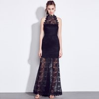 New Celebrity Runway Dress Black Sheer Lace Floor_Length Cocktail Party Dresses Backless Halter Longo Halter Long Evening Gays ZSJG0610