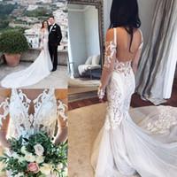 Lace Applique Mermaid Wedding Dresses Open Back Bridal Gowns...