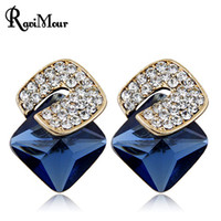 RAVIMOUR Square Brincos Crystal Stud Earrings for Women Fash...