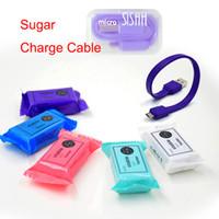 Xmas Candy Sugar 2A Portable Mini PowerBank câble 20cm court câble de charge TPE Micro USB Data synchronisation chargeur câble pour Samsung S7 DHL CAB166