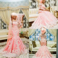 Южная Африка Русалка Стиль Свадебные платья светло-розовый высокий вырез рукава Свадебные платья Назад Zipper ярусами выполненные на заказ свадебные платья