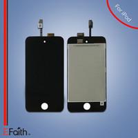 20 pcs / lot DHL libre Affichage de l'affichage à cristaux liquides pour iPod Touch 4 avec le numériseur d'écran tactile d'écran noir couleur Remplacement