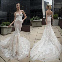 2017 Beach Lace Mermaid Vestidos de casamento Sweetheart Berta Inbal Dror Backless Vestidos de noiva Applique Long Train Trumpet Wedding Gowns