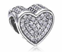 2017 printemps jour de la mère en cristal pavé coeur charme pour Pandora Bracelet DIY perle charme argent sterling bijoux