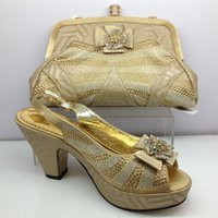 2017 fashion African shoes and bag set high heel open toes p...