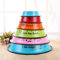 7 Colors Stainless Steel Dog Cat Food Water Bowl Anti- skid P...