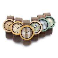 Montres de luxe Dernières montres Mode Montre en cuir vert Montres en bois pour hommes et femmes 5 couleurs