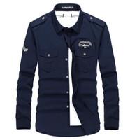 Длинные рукава Свободное высокое качество дышащий Бизнес Осень Army Military сорочка Плюс размер форменные рубашки платья 3 цвета M 3XL 4XL
