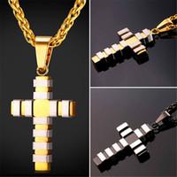 U7 Nouveau style de mode collier croix pendentif à la mode Deux tons en acier inoxydable / plaqué or bijoux chrétiens pour femmes Hommes Cadeau parfait GP2438